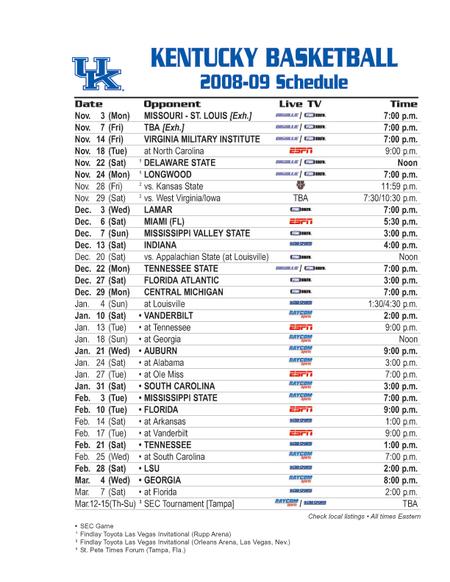 Kentucky Wildcats Basketball Schedule 2014